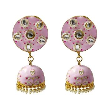 Magenta Pink Meenakari CZ Kundan Pearl Jhumki Earrings Set