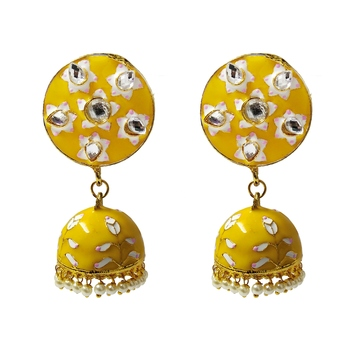 Yellow Pink Meenakari CZ Kundan Pearl Jhumki Earrings Set