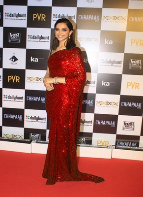 Red Sequence Work Georgette Bollywood Saree With Blouse