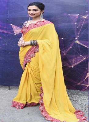 Yellow Printed Lace Work Georgette Bollywood Saree With Blouse