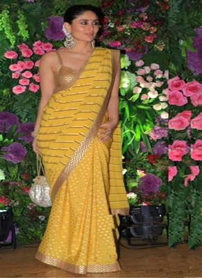 Yellow Printed Silk Bollywood Saree With Blouse