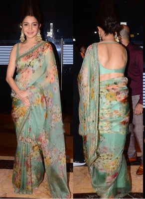 Light Green Orgenza Silk Printed Bollywood Saree With Blouse