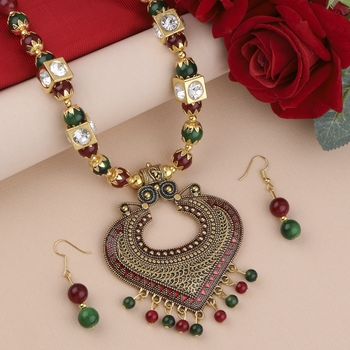 Exclucive Traditional Necklace Set Multi Colour Pear Set For Women Girls