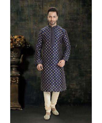 blue printed dupion silk kurta pajama