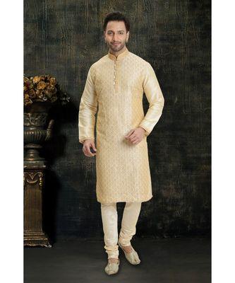 cream hand woven dupion silk kurta pajama