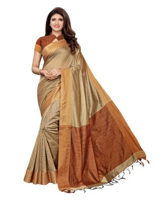 Beige Woven Chanderi Saree With Blouse