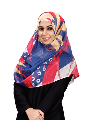 Women's Multi Color Printed Silk Scarf Hijab Dupatta