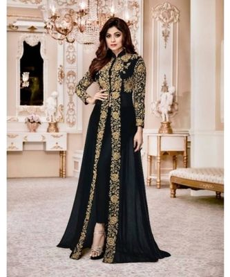 Royal Villa Black Embroidered Faux Georgette Salwar Semi Stitched