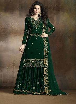 GREEN EMBROIDERED SILK KAMEEZ WITH SHARARA SEMI STITCHED