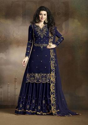 BLUE EMBROIDERED SILK KAMEEZ WITH SHARARA SEMI STITCHED