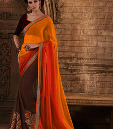 Buy orange and brown embroidered chiffon saree with blouse brasso-saree online