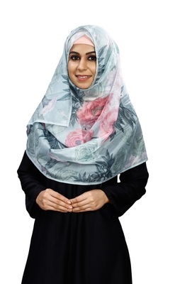 Floral Printed Soft Silk Scarf Hijab For Women
