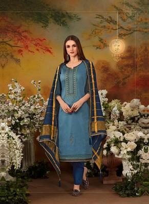 Sky-blue embroidered cotton salwar