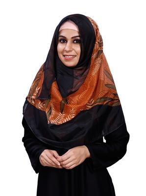 Women Black Orange Printed Tibetian Silk Scarf Hijab Stoles Dupatta