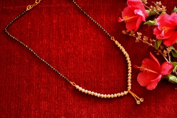 Designer diamond Studded classic Gold Plated Necklace Mangalsutra