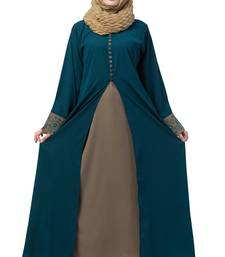 Women Double Layered Abaya With Embroidery Work On Sleeves- Green-Beige