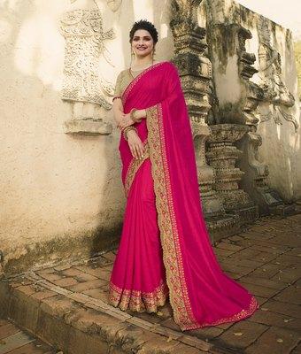 Rani pink embroidered raw silk saree