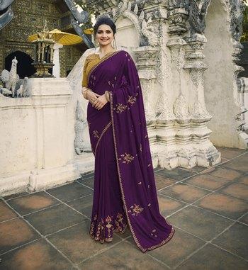 Dark violet embroidered silk blend saree