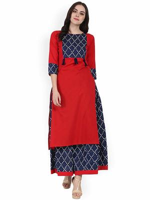Women's Cotton Designer Printed Kurtis with Skirts