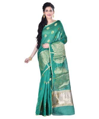Green Women's Cotton Blend Zari work Fancy Banarasi Saree