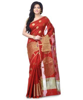 Maroon Women's Cotton Blend Zari work Fancy Banarasi Saree