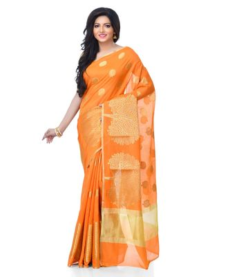 Orange Women's Cotton Blend Zari work Fancy Banarasi Saree