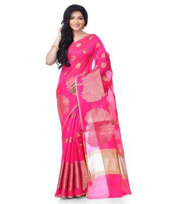 light Pink Women's Cotton Blend Zari work Fancy Banarasi Saree