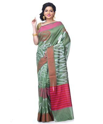 Mehandi Women  Chanderi Resham Work Fancy Banarasi Saree