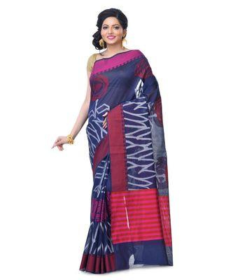 Navi Blue Women's Chanderi Resham Work Fancy Banarasi Saree