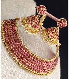 Red Stone Antique Kempu Choker Necklace Set