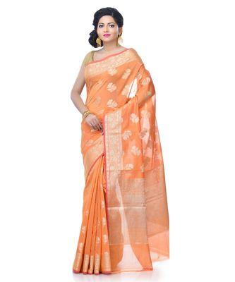 Women's Orange Chanderi Resham Work Fancy Banarasi Saree