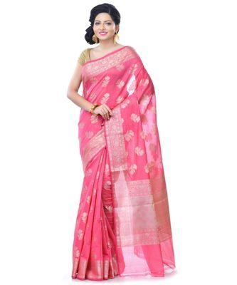 Pink Women's Chanderi Resham Work Fancy Banarasi Saree