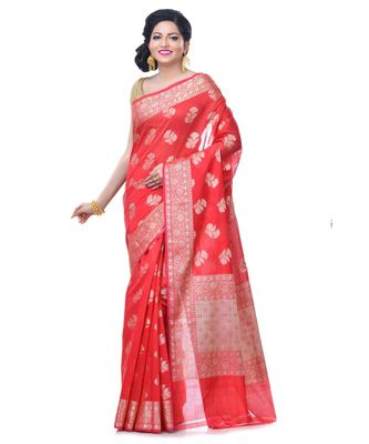 red Women's Chanderi Resham Work Fancy Banarasi Saree