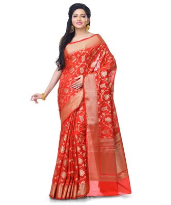 red Women's Blend Silk Zari Work Fancy Banarasi saree
