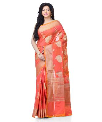 Women's Peach Blend Silk Zari Work Fancy Banarasi saree