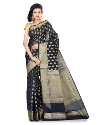 Blue Women's Cotton Blend Zari work Fancy Banarasi saree