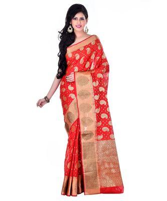 Red Women's Cotton Blend Zari work Fancy Banarasi saree