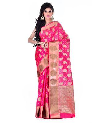 Light Pink Women  Cotton Blend Zari Work Fancy Banarasi Saree