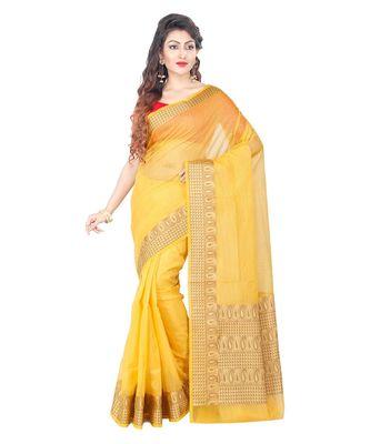 Gold Woman's Cotton Silk blend Kota Check Banarasi Saree