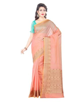 Pink Woman's Cotton Silk blend Kota Check Banarasi Saree