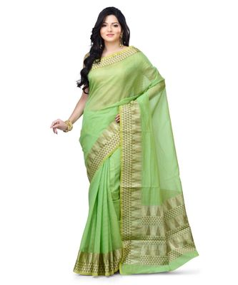Green Woman's Cotton Silk blend Kota Check Banarasi Saree