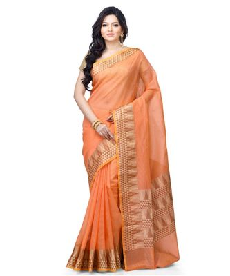 Peach Woman's Cotton Silk blend Kota Check Banarasi Saree