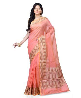 Pink Woman's Cotton Silk blend Kota Check Banarasi Saree