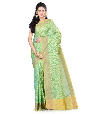 Sea green Woman's Cotton Silk blend Kota Check Banarasi Saree