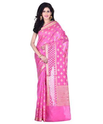 Pink Woman's Cotton Silk  Banarasi Saree