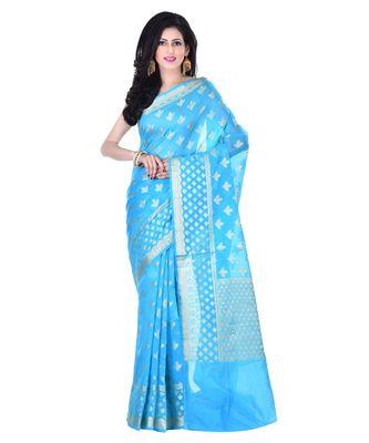 Sea Green Woman's Cotton Silk  Banarasi Saree
