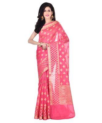 Strawberry Woman's Cotton Silk  Banarasi Saree