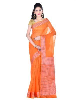 Orange Woman's Cotton Silk blend Kota Check Banarasi Saree