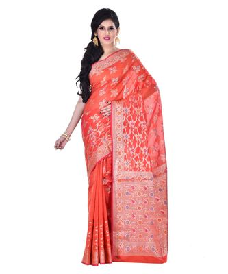 Orange Woman Cotton Silk Blend  Banarasi Saree