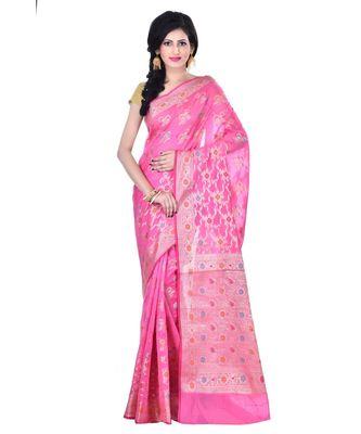 Pink Woman's Cotton Silk blend  Banarasi Saree